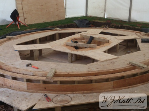 Shuttering for elliptical surround and infinity pool edge
